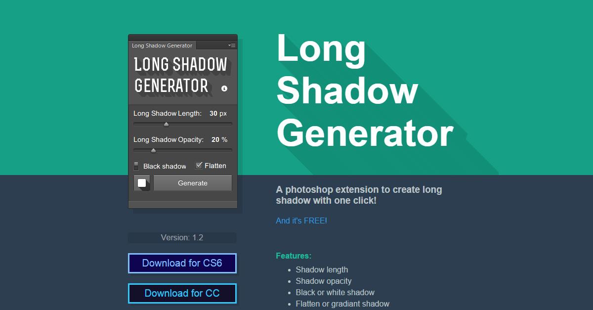 Adobe Photoshop üçün Long Shadow Generator Pulsuz Yüklə